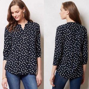 Anthro Maeve Brunia Polka Dot Spotted Top S
